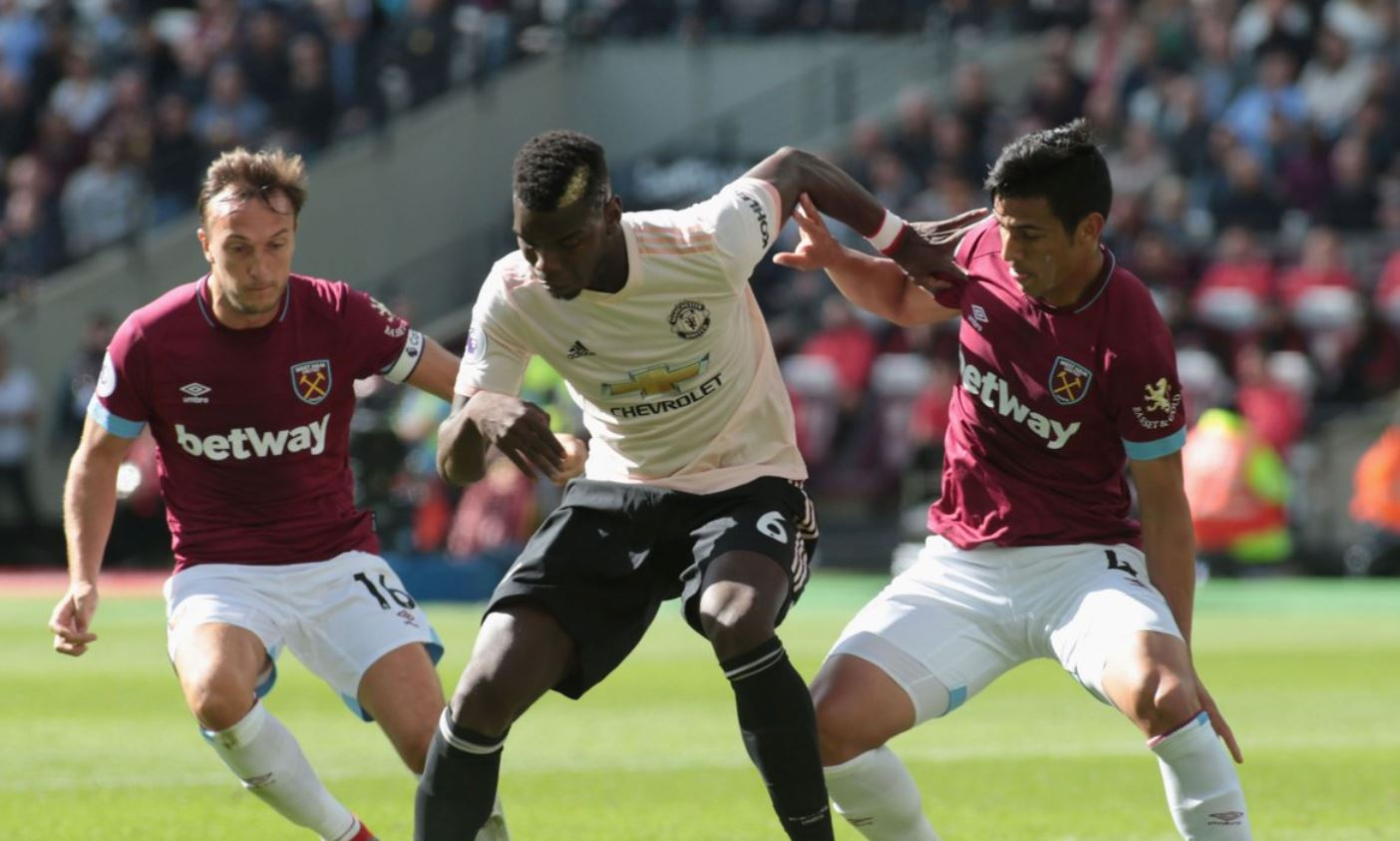 Paul Pogba of Manchester United against West Ham