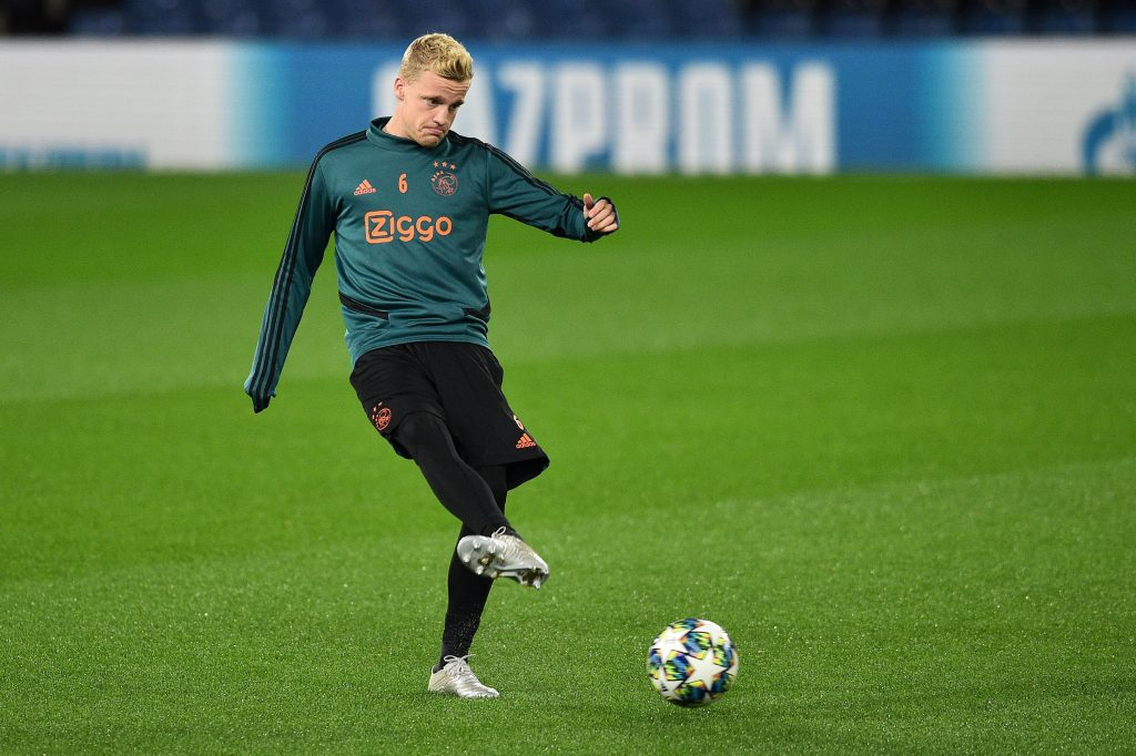 Donny van de Beek during a training session for Ajax