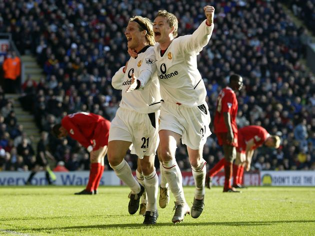 Forlan and Solskjaer  played together at United