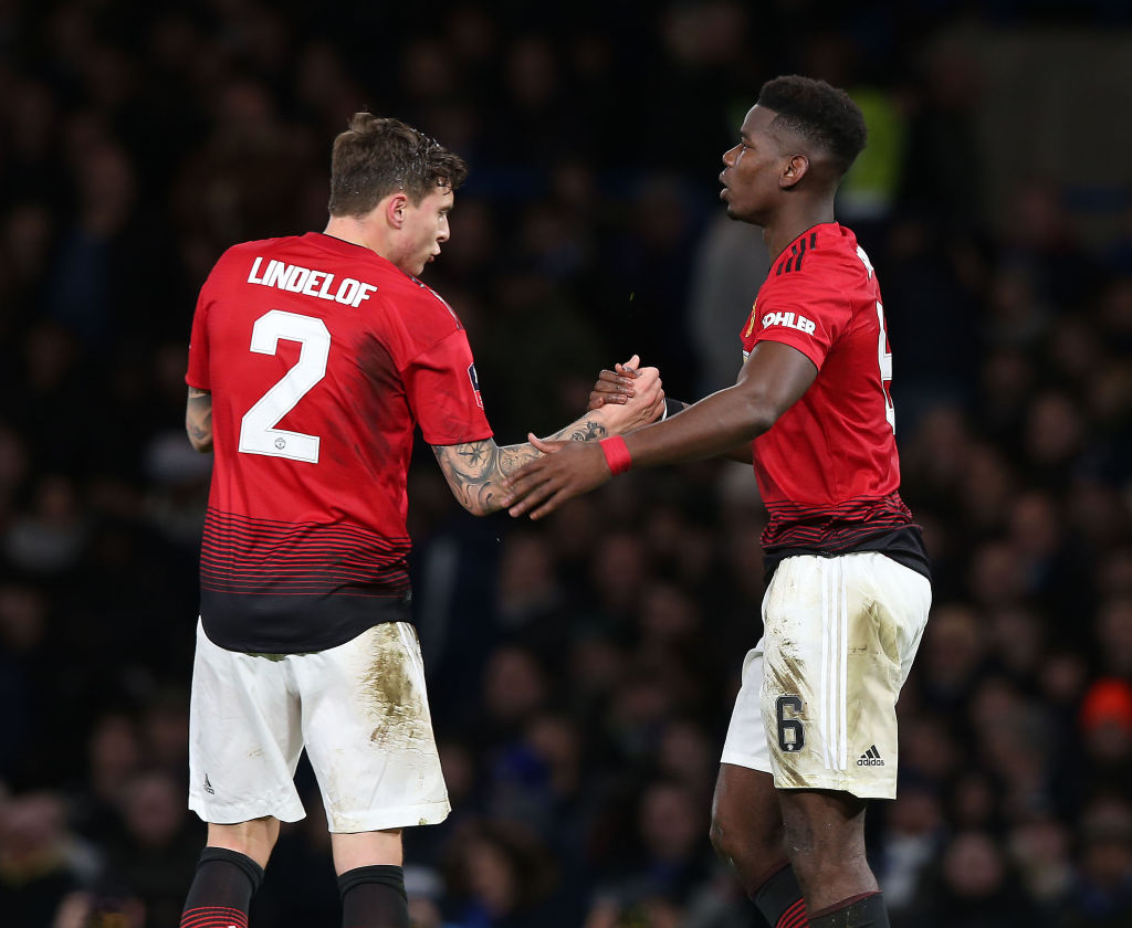 Paul Pogba showed off scars he received in a clash in training with Victor Lindelof.