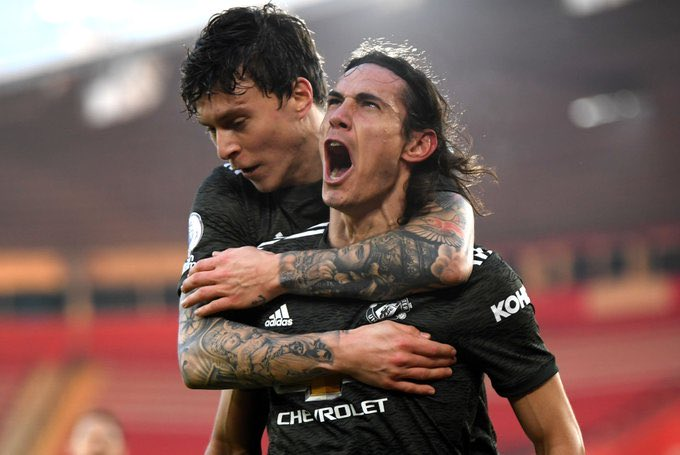 Edinson Cavani scored twice to hand United all three points against Southampton. (GETTY Images)