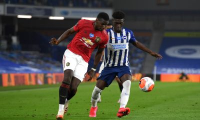 Yves Bissouma in action against Manchester United in the Premier League. (GETTY Images)