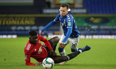 Axel Tuanzebe played as a right-back against Everton in the EFL Cup quarter-final. (GETTY Images)