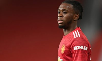 Aaron-Wan Bissaka was spotted in the training photographs taken at Carrington on Monday. (GETTY Images)