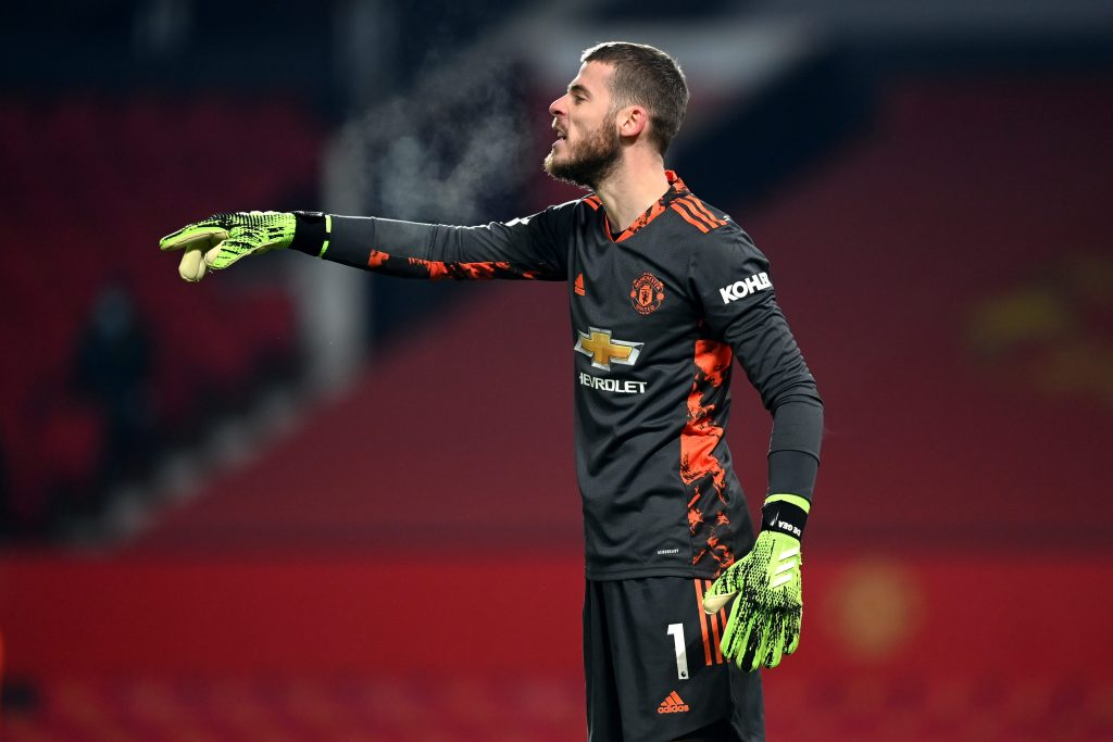Manchester United goalkeeper David de Gea in action against Wolverhampton Wanderers. (GETTY Images)