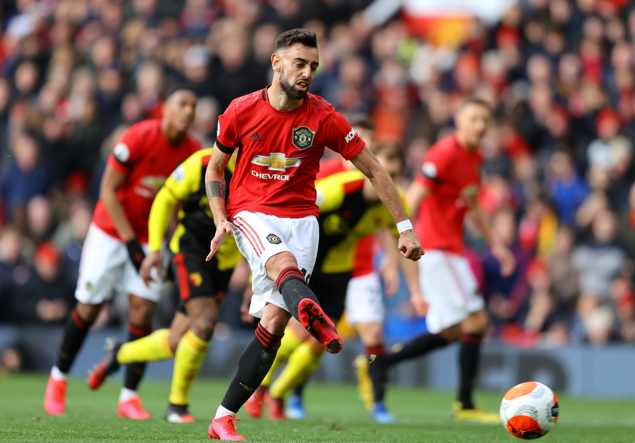 Bruno Fernandes taking a penalty for Manchester united. (GETTY Images)