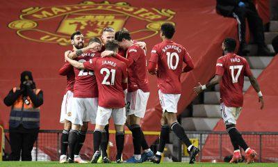 Manchester United celebrate their goal against West Ham United. (imago Images)