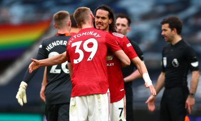 Scott McTominay celebrates Manchester United beating Tottenham Hotspur after a controversial VAR decision in the first half..